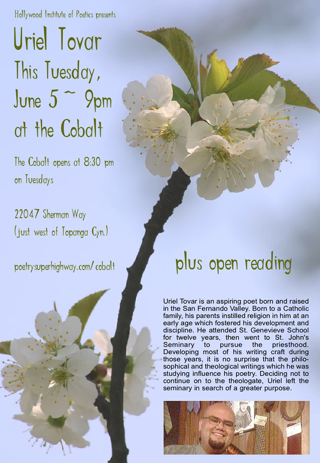 H.I.P. presents URIEL TOVAR this Tuesday at the Cobalt plus open reading