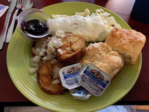 Egg White Omelet with Potatoes and Biscuits