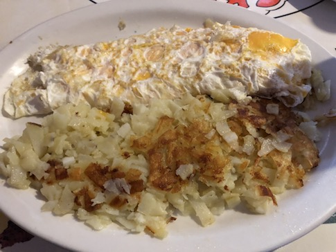 Egg White Cheese Omelet and Hashbrowns